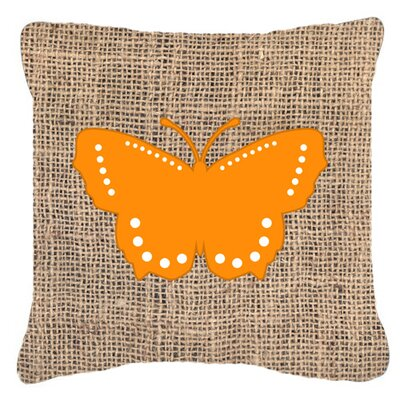 Modern Butterfly Burlap Water Resistant Indoor/Outdoor Throw Pillow Size: 14 H x 14 W x 4 D, Color: Orange