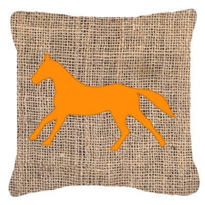 Horse Burlap Indoor/Outdoor Throw Pillow Size: 18 H x 18 W x 5.5 D, Color: Orange
