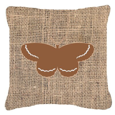 Butterfly Graphic Print Burlap Square Indoor/Outdoor Throw Pillow Size: 14 H x 14 W x 4 D, Color: Brown