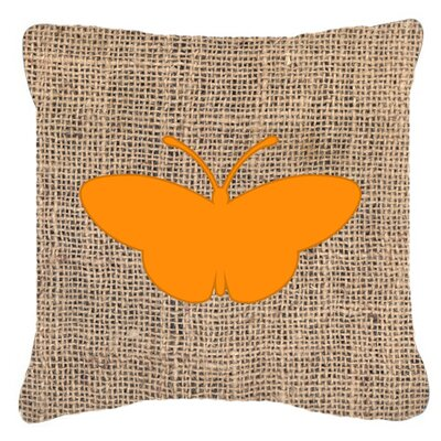 Modern Butterfly Burlap Fade Resistant Indoor/Outdoor Throw Pillow Size: 14 H x 14 W x 4 D, Color: Orange
