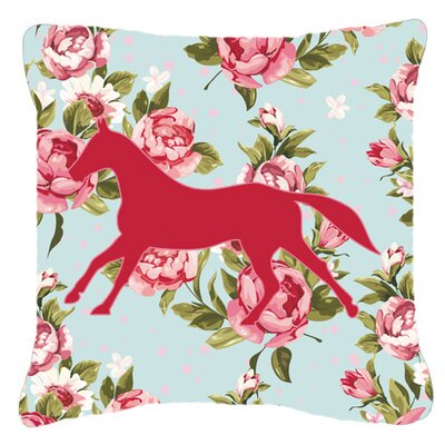 Horse Shabby Elegance Blue Roses Indoor/Outdoor Throw Pillow Size: 14 H x 14 W x 4 D
