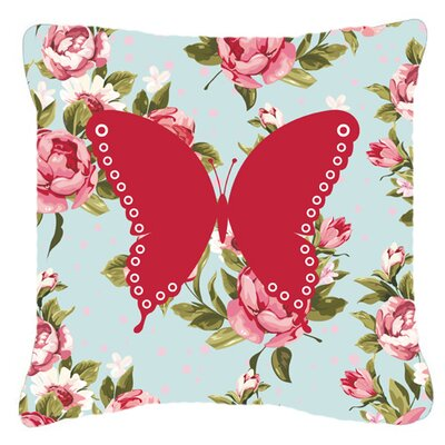 Butterfly Shabby Elegance Blue/Pink Roses Square Indoor/Outdoor Fabric Throw Pillow Size: 14 H x 14 W x 4 D