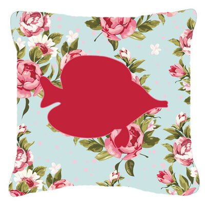 Tang Fish Shabby Elegance Blue Roses Indoor/Outdoor Throw Pillow Size: 18 H x 18 W x 5.5 D