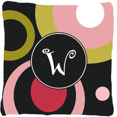 Monogram Retro in Black Indoor/Outdoor Throw Pillow Letter: W