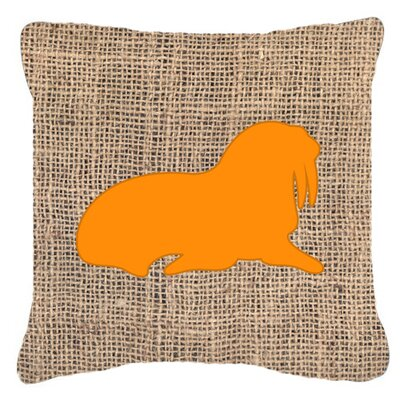 Walrus Burlap Indoor/Outdoor Throw Pillow Size: 14 H x 14 W x 4 D, Color: Orange