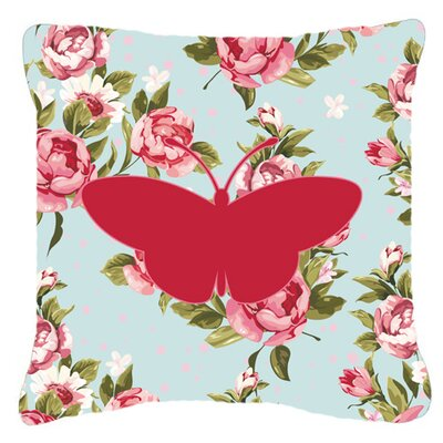 Butterfly Shabby Elegance Blue Roses Contemporary Square Indoor/Outdoor Throw Pillow Size: 14 H x 14 W x 4 D