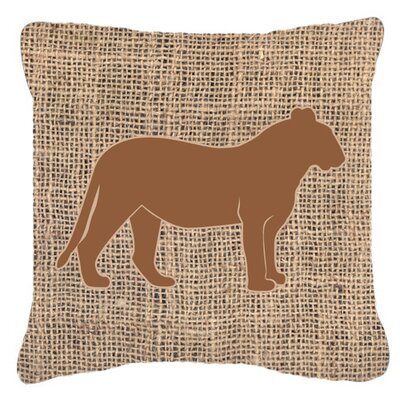 Tiger Burlap Indoor/Outdoor Throw Pillow Size: 18 H x 18 W x 5.5 D, Color: Brown