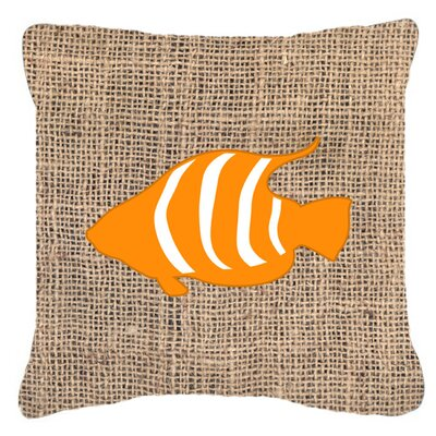 Fish Burlap Indoor/Outdoor Throw Pillow Color: Orange, Size: 18 H x 18 W x 5.5 D