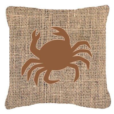 Coastal Crab Burlap Indoor/Outdoor Throw Pillow Size: 14 H x 14 W x 4 D, Color: Brown