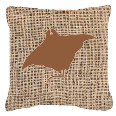 Manta Ray Burlap Indoor/Outdoor Throw Pillow Size: 14 H x 14 W x 4 D, Color: Brown