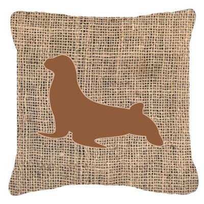 Seal Burlap Indoor/Outdoor Throw Pillow Size: 14 H x 14 W x 4 D, Color: Brown