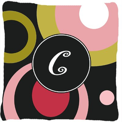 Monogram Retro in Black Indoor/Outdoor Throw Pillow Letter: C
