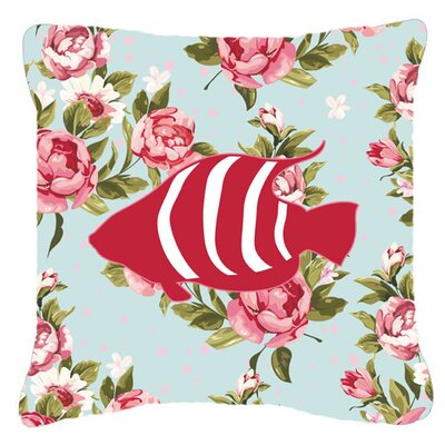 Fish Shabby Elegance Blue Roses Indoor/Outdoor Throw Pillow Size: 14 H x 14 W x 4 D