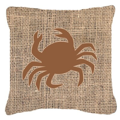Crab Burlap Indoor/Outdoor Throw Pillow Size: 18 H x 18 W x 5.5 D, Color: Brown