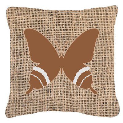 Butterfly Burlap Square Indoor/Outdoor Throw Pillow Size: 18 H x 18 W x 5.5 D, Color: Brown