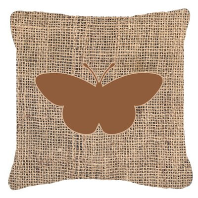 Butterfly Burlap Square Fade Resistant Indoor/Outdoor Throw Pillow Size: 14 H x 14 W x 4 D, Color: Brown