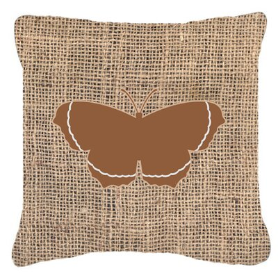 Elegant Butterfly Burlap Indoor/Outdoor Throw Pillow Size: 18 H x 18 W x 5.5 D, Color: Brown