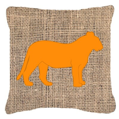 Tiger Burlap Indoor/Outdoor Throw Pillow Size: 18 H x 18 W x 5.5 D, Color: Orange