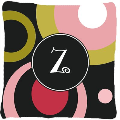 Monogram Retro in Black Indoor/Outdoor Throw Pillow Letter: Z