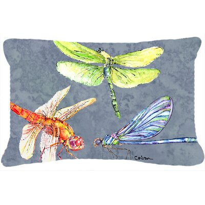 Dragonfly Times Three Indoor/Outdoor Throw Pillow