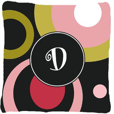 Monogram Retro in Black Indoor/Outdoor Throw Pillow Letter: D