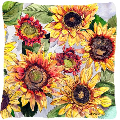 Landon Sunflowers and Green Leaves Indoor/Outdoor Throw Pillow