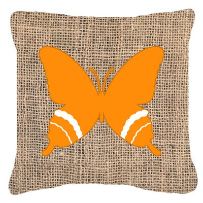 Butterfly Burlap Square Indoor/Outdoor Throw Pillow Size: 14 H x 14 W x 4 D, Color: Orange