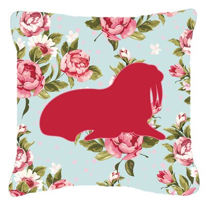 Walrus Shabby Elegance Blue Roses Indoor/Outdoor Throw Pillow Size: 18 H x 18 W x 5.5 D