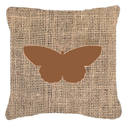 Butterfly Graphic Print Burlap Water Resistant Indoor/Outdoor Throw Pillow Size: 14 H x 14 W x 4 D, Color: Brown
