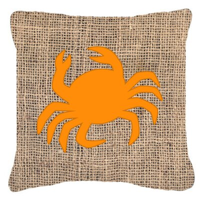 Coastal Crab Burlap Indoor/Outdoor Throw Pillow Size: 18 H x 18 W x 5.5 D, Color: Orange