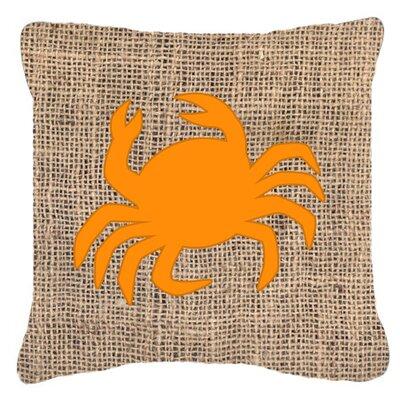 Coastal Crab Burlap Indoor/Outdoor Throw Pillow Size: 18 H x 18 W x 5.5 D, Color: Orange
