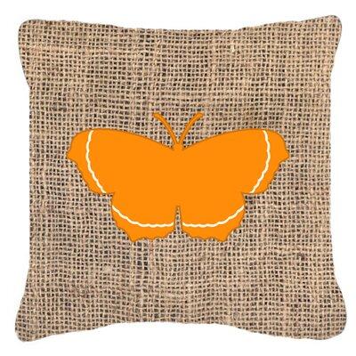 Elegant Butterfly Burlap Indoor/Outdoor Throw Pillow Size: 14 H x 14 W x 4 D, Color: Orange