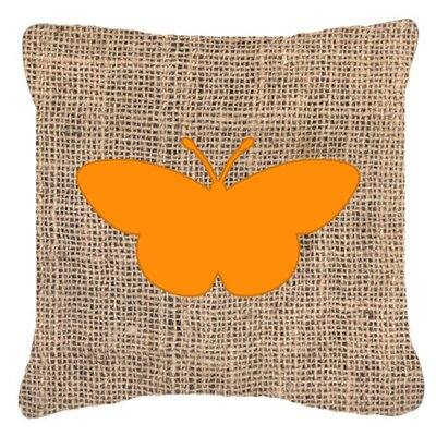 Butterfly Burlap Square Fade Resistant Indoor/Outdoor Throw Pillow Size: 14 H x 14 W x 4 D, Color: Orange