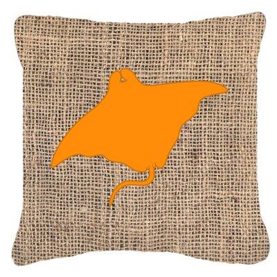 Manta Ray Burlap Indoor/Outdoor Throw Pillow Color: Orange, Size: 18 H x 18 W x 5.5 D