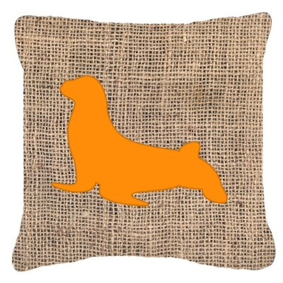 Seal Burlap Indoor/Outdoor Throw Pillow Size: 18 H x 18 W x 5.5 D, Color: Orange