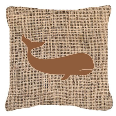 Whale Burlap Indoor/Outdoor Throw Pillow Size: 18 H x 18 W x 5.5 D, Color: Brown