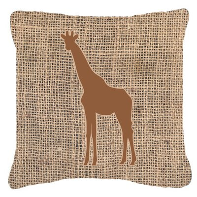 Giraffe Burlap Indoor/Outdoor Throw Pillow Size: 18 H x 18 W x 5.5 D, Color: Brown
