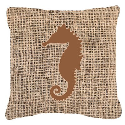 Sea Horse Burlap Indoor/Outdoor Throw Pillow Size: 18 H x 18 W x 5.5 D, Color: Brown