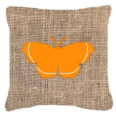 Elegant Butterfly Burlap Indoor/Outdoor Throw Pillow Size: 18 H x 18 W x 5.5 D, Color: Orange