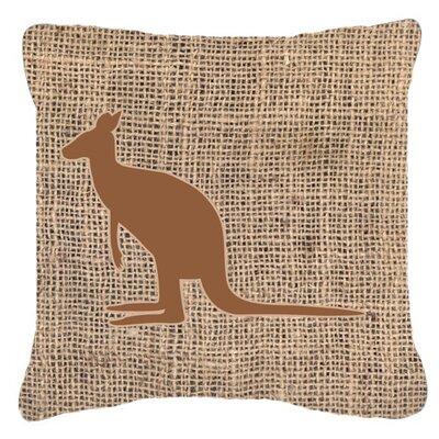 Kangaroo Burlap Indoor/Outdoor Throw Pillow Size: 14 H x 14 W x 4 D, Color: Brown