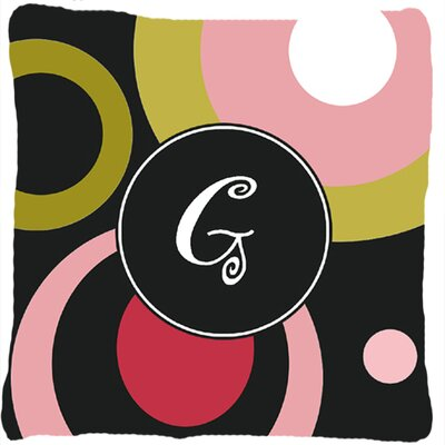 Monogram Retro in Black Indoor/Outdoor Throw Pillow Letter: G