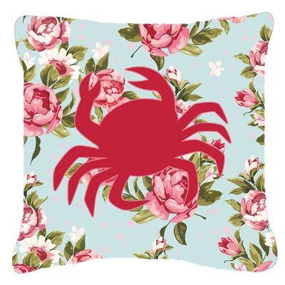 Crab Shabby Elegance Blue Roses Square Indoor/Outdoor Throw Pillow Size: 18 H x 18 W x 5.5 D