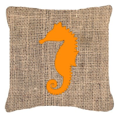 Sea Horse Burlap Indoor/Outdoor Throw Pillow Size: 14 H x 14 W x 4 D, Color: Orange