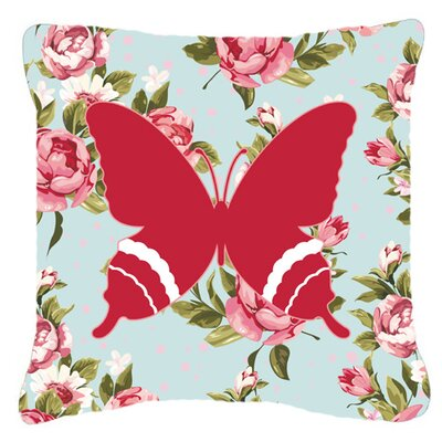 Butterfly Shabby Elegance Blue/Red Roses Indoor/Outdoor Fabric Throw Pillow Size: 18 H x 18 W x 5.5 D