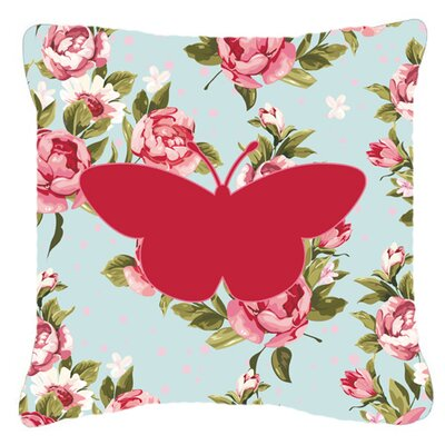 Butterfly Shabby Elegance Blue Roses Modern  Square Indoor/Outdoor Throw Pillow Size: 14 H x 14 W x 4 D