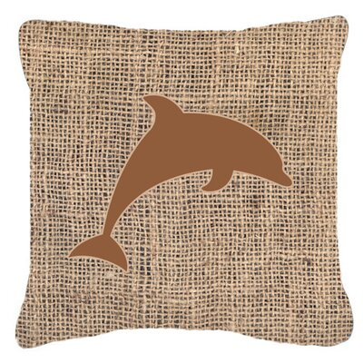 Burke Dolphin Burlap Indoor/Outdoor Throw Pillow Size: 14 H x 14 W x 4 D, Color: Brown