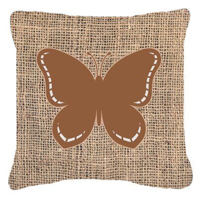 Butterfly Burlap Water Resistant Indoor/Outdoor Throw Pillow Size: 14 H x 14 W x 4 D, Color: Brown
