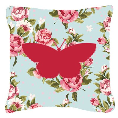 Butterfly Shabby Elegance Blue/Pink Roses Indoor/Outdoor Fabric Throw Pillow Size: 14 H x 14 W x 4 D