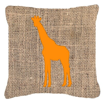 Giraffe Burlap Indoor/Outdoor Throw Pillow Size: 18 H x 18 W x 5.5 D, Color: Orange