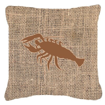 Lobster Burlap Indoor/Outdoor Throw Pillow Size: 14 H x 14 W x 4 D, Color: Brown